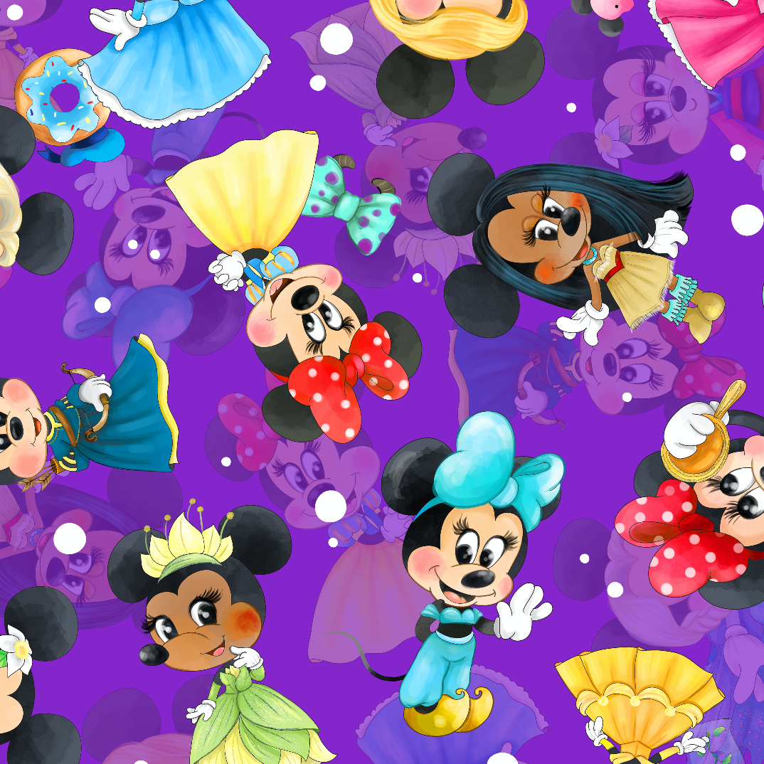 PRE ORDER - Princess Minnie Purple - Digital Fabric Print