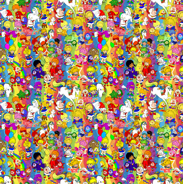 PRE ORDER - Rainbow Brite Scattered - Digital Fabric Print