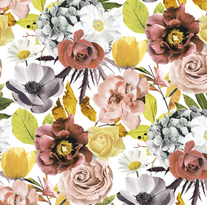 PRE ORDER - Autumn Garden Large White - Digital Fabric Print