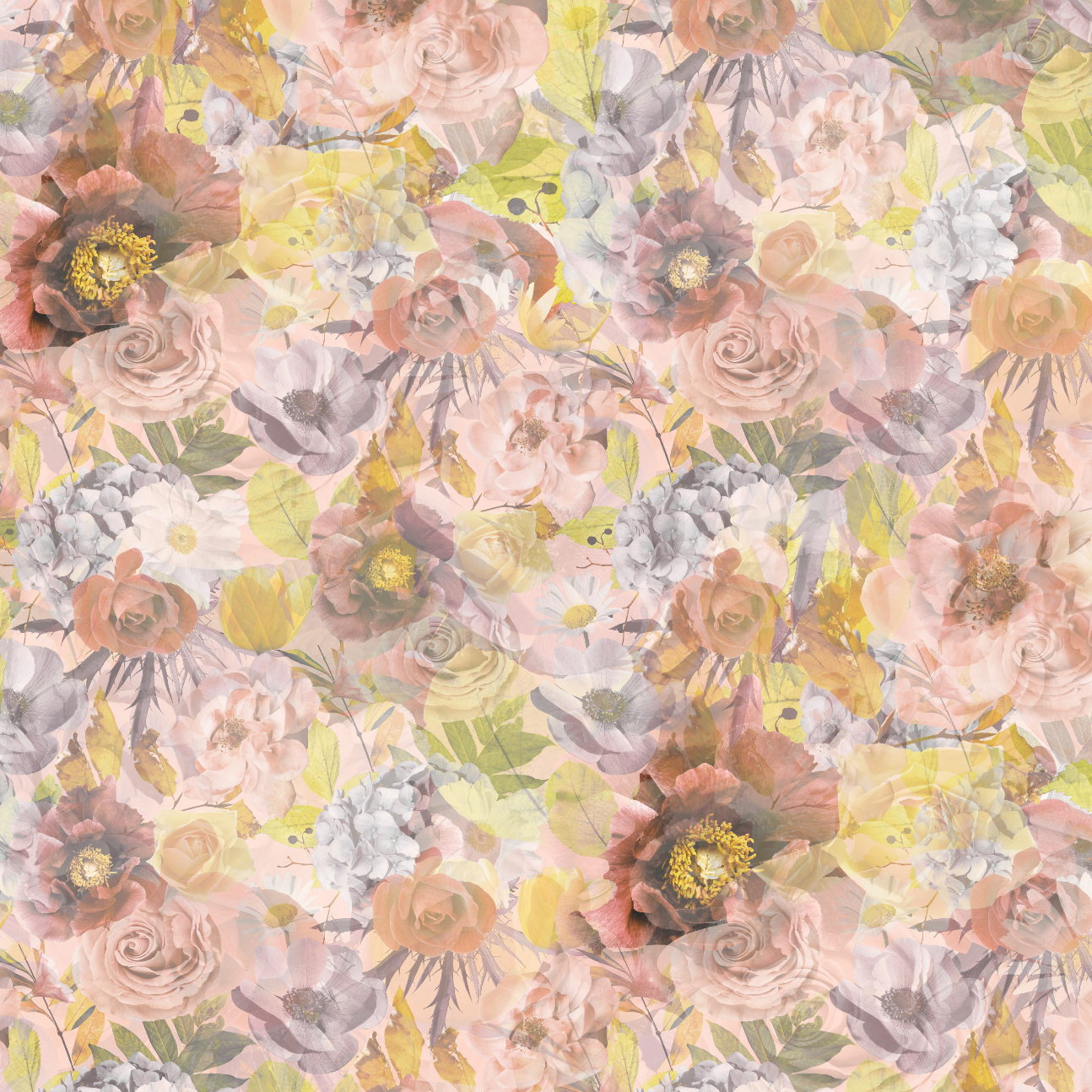PRE ORDER - Autumn Garden Pastel - Digital Fabric Print