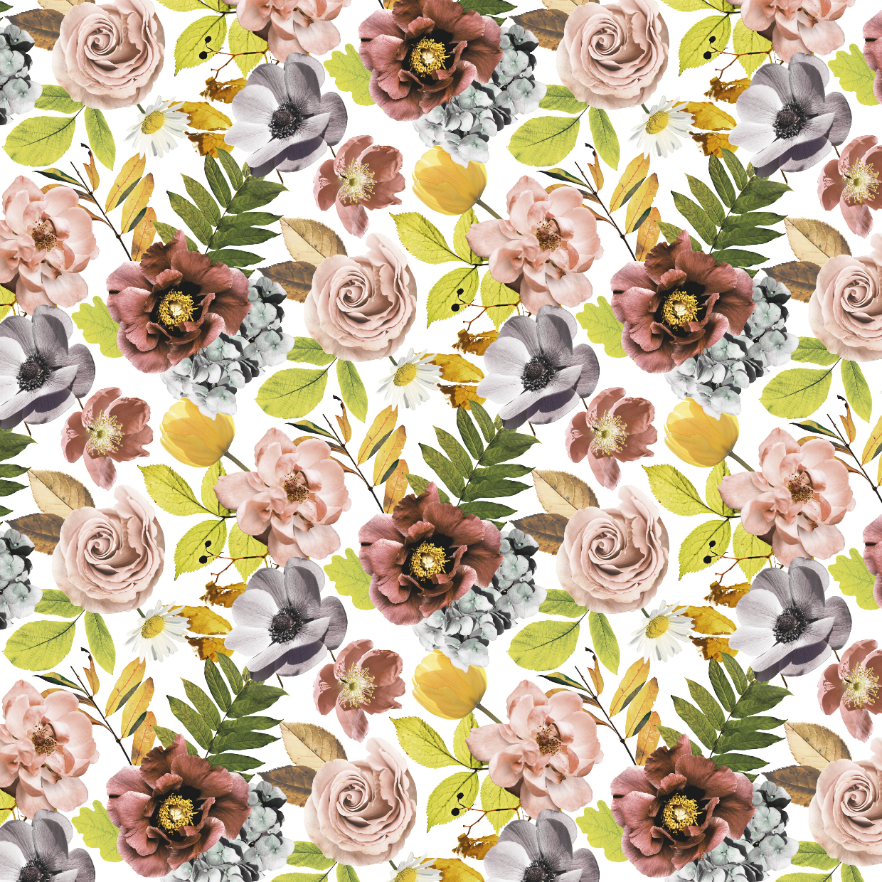 PRE ORDER - Autumn Garden Small White - Digital Fabric Print