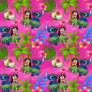 PRE ORDER - Lilo and Stitch Pink - Digital Fabric Print