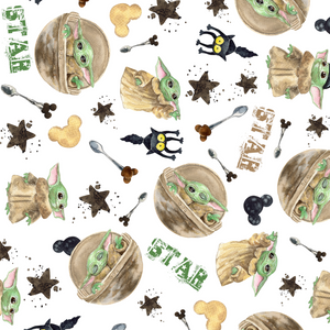 PRE ORDER - Baby Yoda Gold Star - Digital Fabric Print