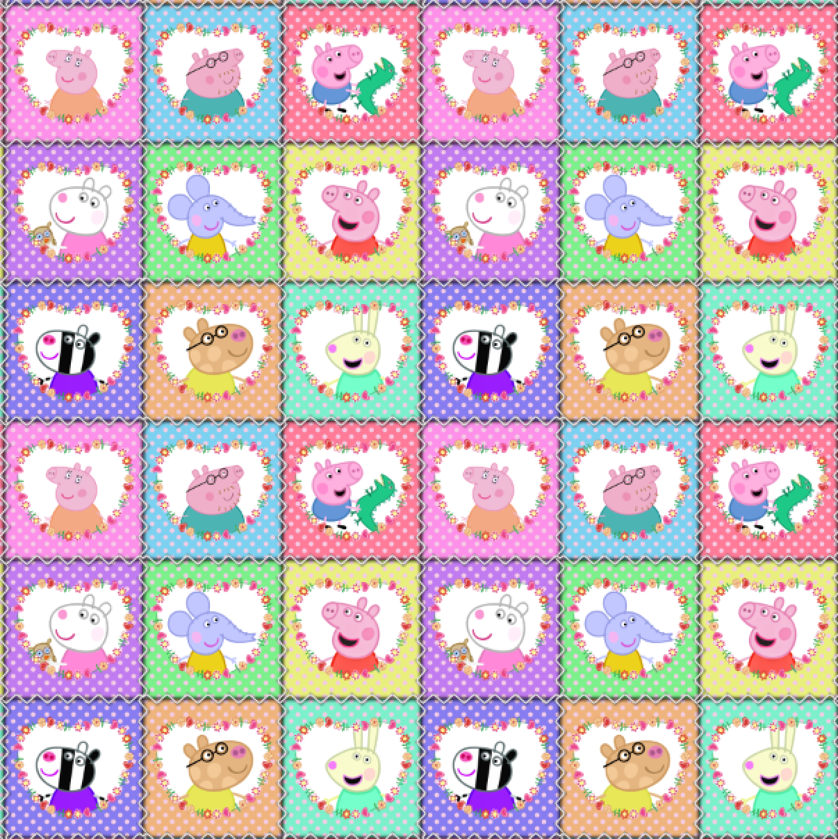 PRE ORDER - Peppa Squares - Digital Fabric Print