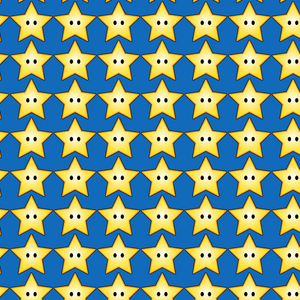 PRE ORDER - Super Mario Stars Blue - Digital Fabric Print