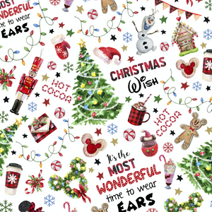 IN STOCK - Wonderful Christmas White - WOVEN COTTON