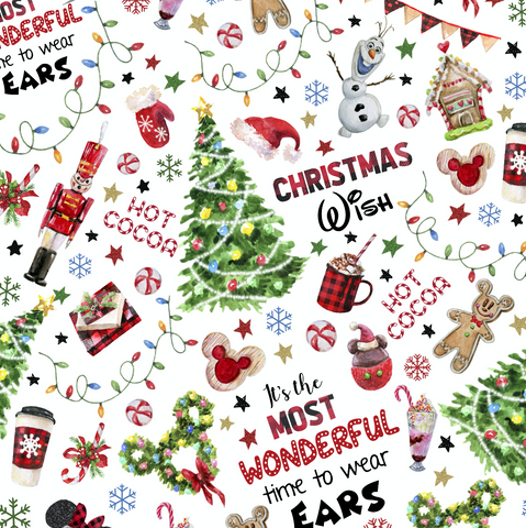 PRE ORDER - Wonderful Christmas White - Digital Fabric Print