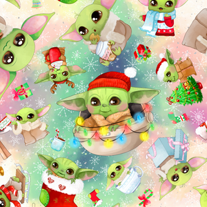 IN STOCK - Christmas Yoda Large - WOVEN COTTON