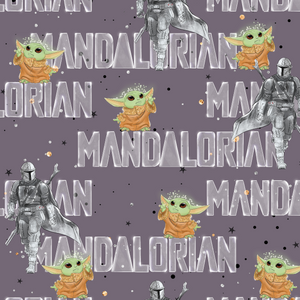 PRE ORDER - Mandalorian Yoda Text - Digital Fabric Print