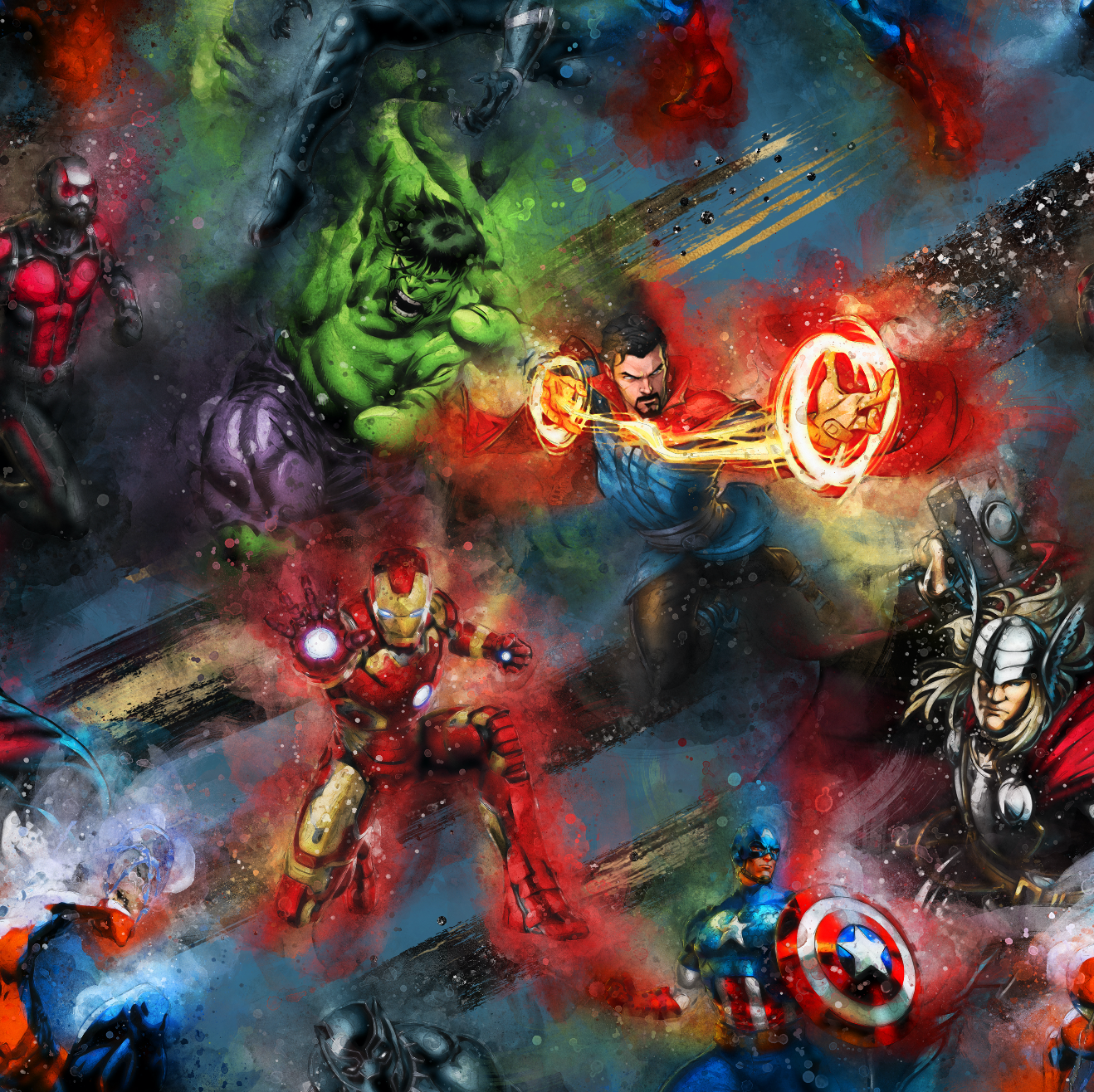 PRE ORDER - Watercolour Superheroes - Digital Fabric Print