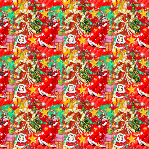 PRE ORDER - Red Christmas Princesses - Digital Fabric Print
