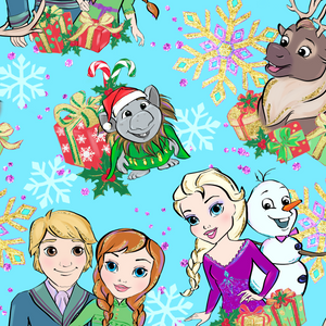 PRE ORDER - Frozen Christmas Blue - Digital Fabric Print