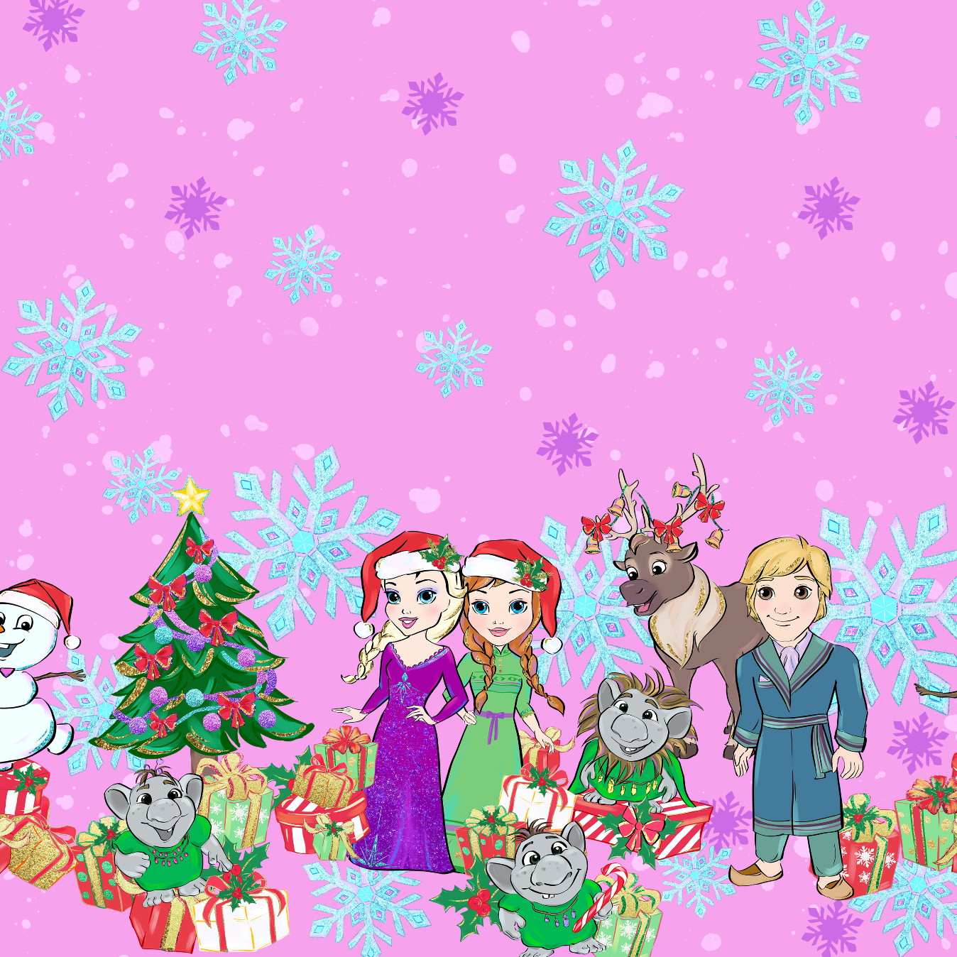 PRE ORDER - Frozen Christmas Border - Digital Fabric Print