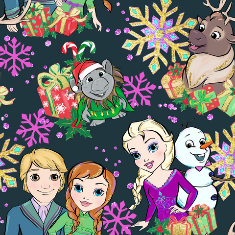 PRE ORDER - Frozen Christmas Black - Digital Fabric Print