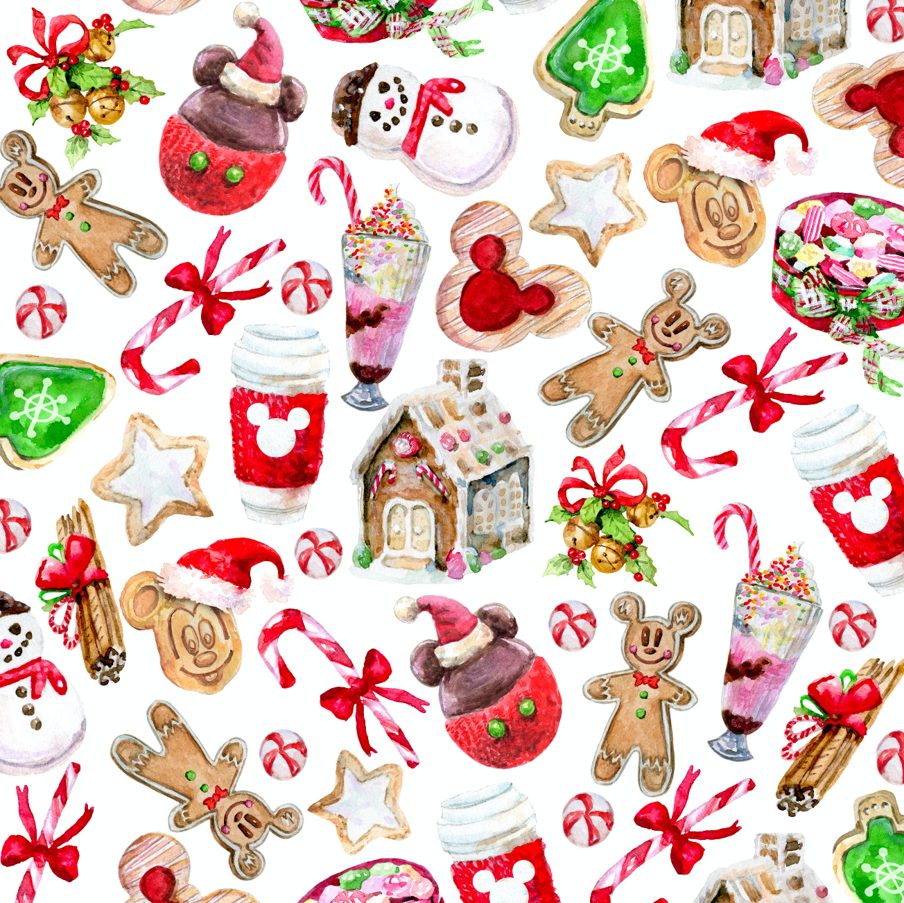 PRE ORDER - Christmas Sweets White - Digital Fabric Print