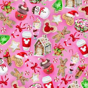 PRE ORDER - Christmas Sweets Pink - Digital Fabric Print