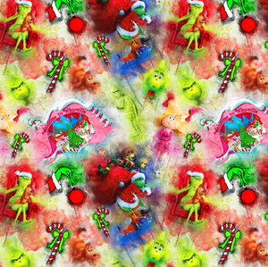 IN STOCK - The Grinch Watercolour - WOVEN COTTON