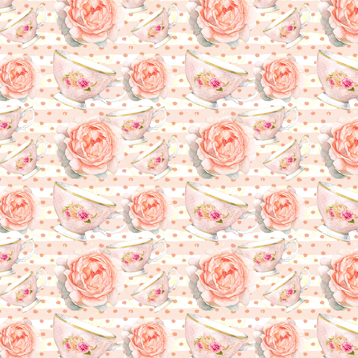 PRE ORDER - Beatrix Potter Teacups- Digital Fabric Print