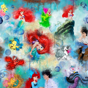 PRE ORDER - Watercolour Little Mermaid - Digital Fabric Print