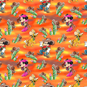 PRE ORDER - Minnie Mickey Cowboys Orange - Digital Fabric Print