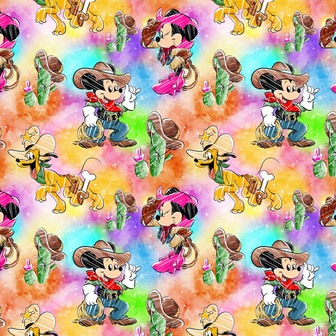 PRE ORDER - Minnie Mickey Cowboys Colour - Digital Fabric Print