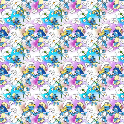 PRE ORDER - Smurfs White - Digital Fabric Print