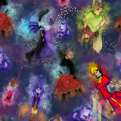 PRE ORDER - Watercolour Emperors New Groove - Digital Fabric Print