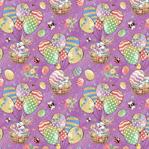 PRE ORDER - Bunny Fun Purple - Digital Fabric Print