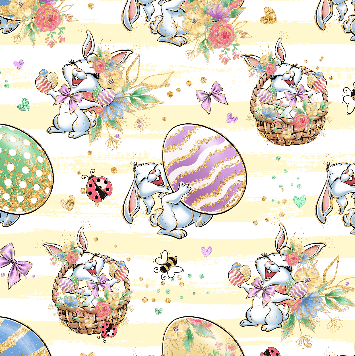 PRE ORDER - Bunny Fun Yellow - Digital Fabric Print