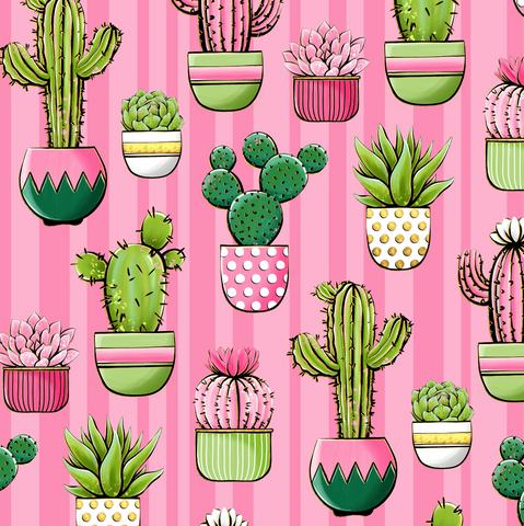 IN STOCK - Cactus in Pink - WOVEN COTTON
