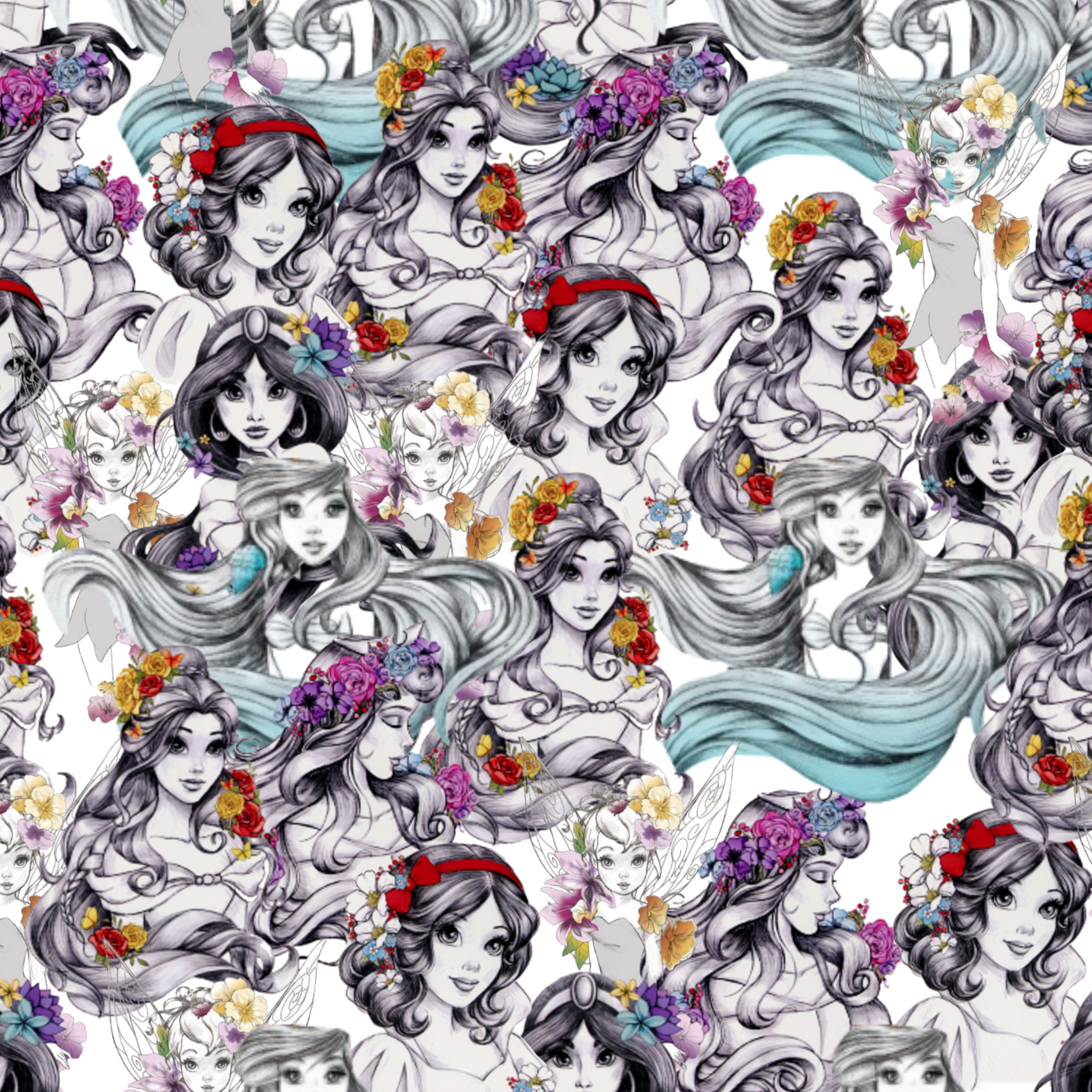 PRE ORDER - Princess Sketches - Digital Fabric Print
