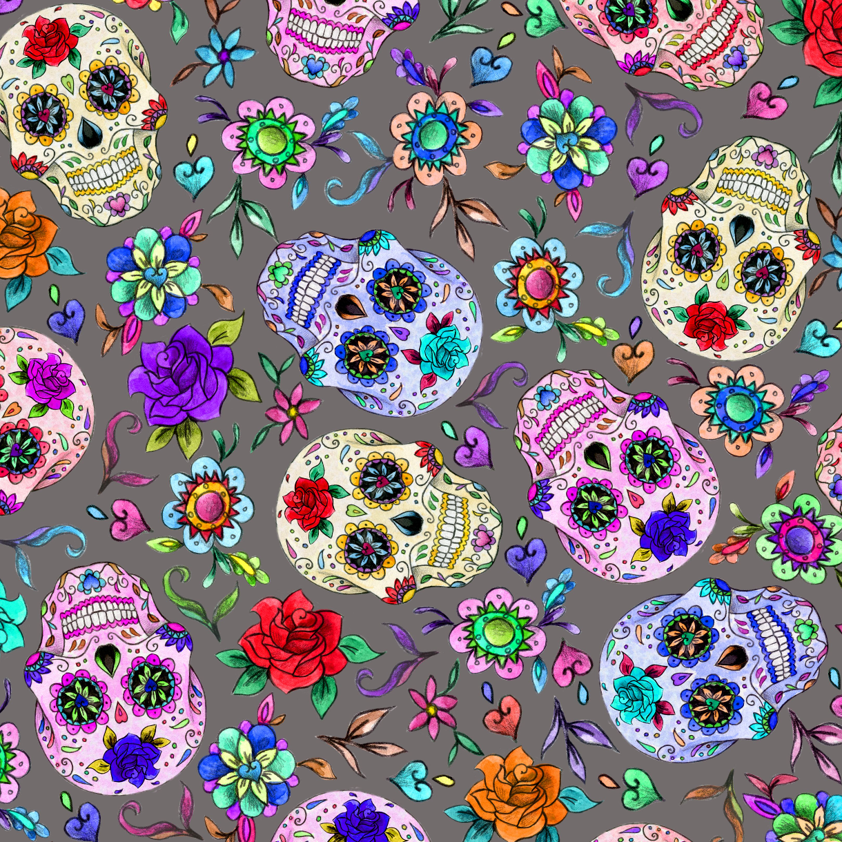 PRE ORDER - Day of the Dead Grey - Digital Fabric Print