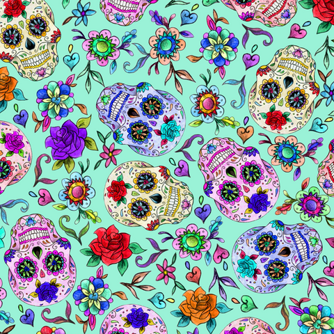 PRE ORDER - Day of the Dead Aqua - Digital Fabric Print