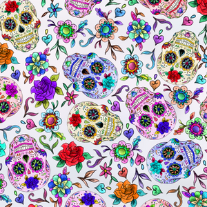PRE ORDER - Day of the Dead White - Digital Fabric Print