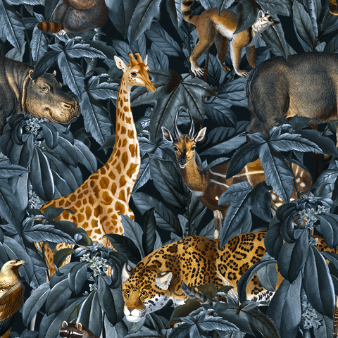 PRE ORDER - African Safari in Charcoal - Digital Fabric Print