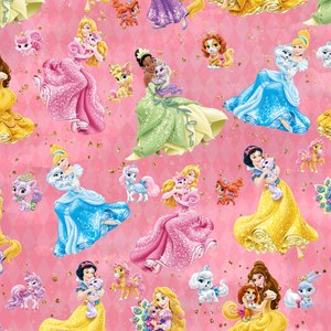 PRE ORDER - Princesses and Kittens Pink - Digital Fabric Print