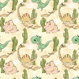 PRE ORDER - Dinosaur Land Yellow - Digital Fabric Print