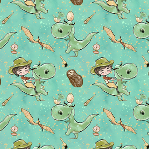PRE ORDER - Dinosaur Land Green - Digital Fabric Print