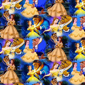 PRE ORDER - Beauty & The Beast in Navy - Digital Fabric Print