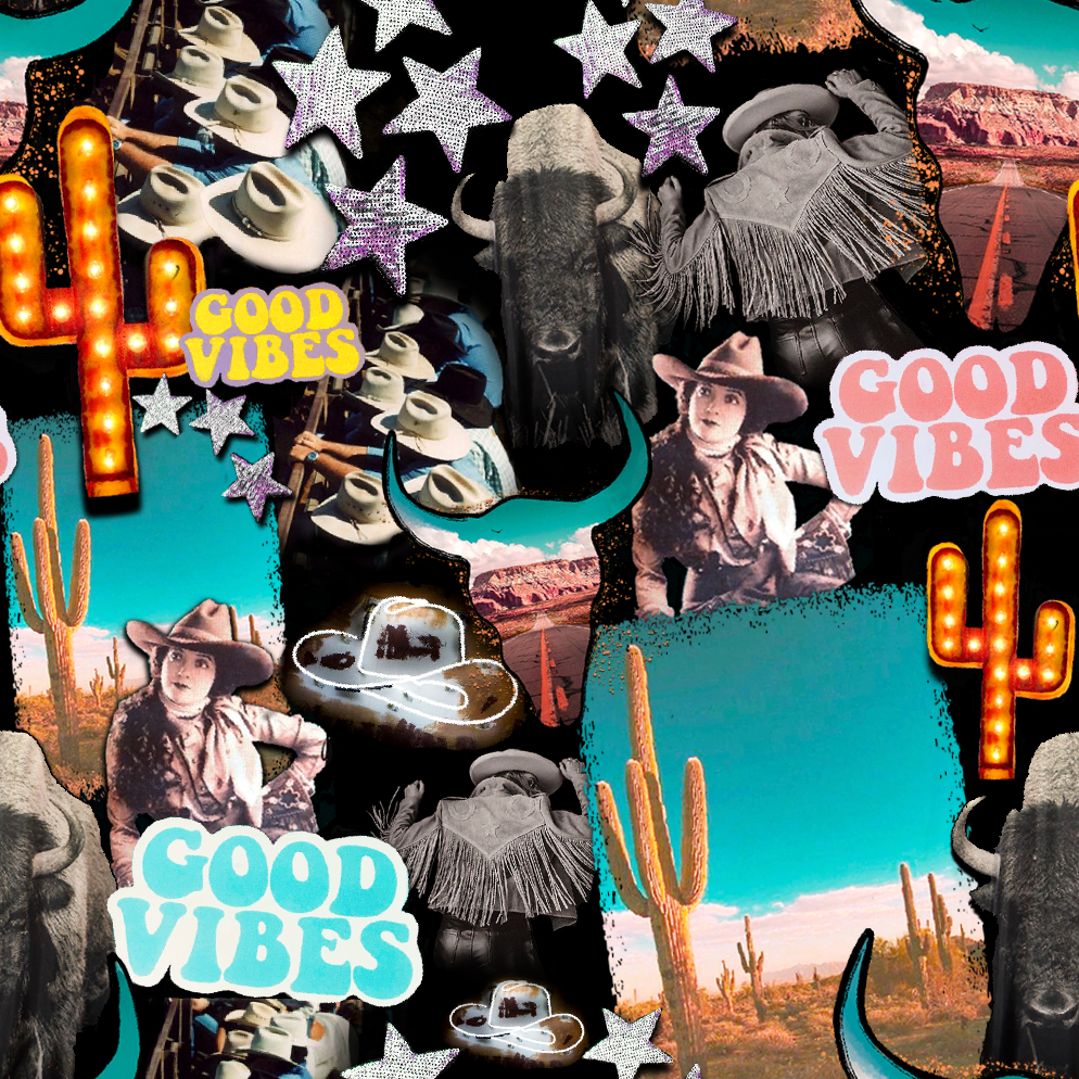 PRE ORDER - Country Western Good Vibes - Digital Fabric Print