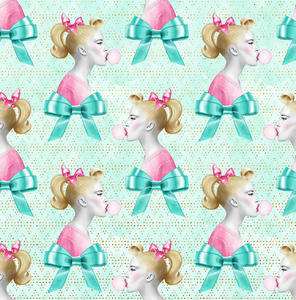 PRE ORDER - 50s Sweets Bubblegum - Digital Fabric Print