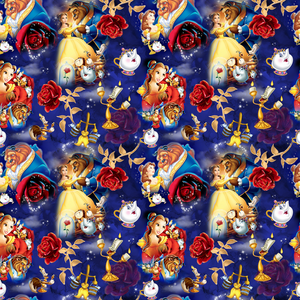 PRE ORDER - Belle's Adventures Blue - Digital Fabric Print
