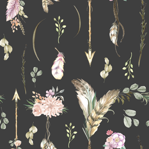 PRE ORDER - Winter Boho Blooms Arrows - Digital Fabric Print