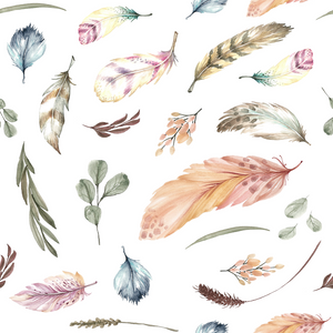 PRE ORDER - Winter Boho Blooms Feathers - Digital Fabric Print