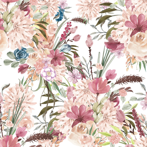PRE ORDER - Winter Boho Blooms White - Digital Fabric Print