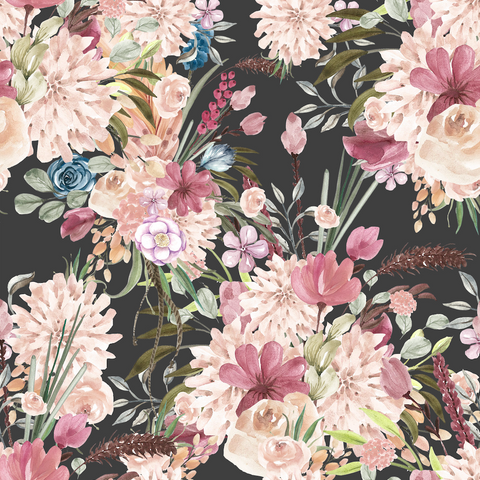 PRE ORDER - Winter Boho Blooms Charcoal - Digital Fabric Print