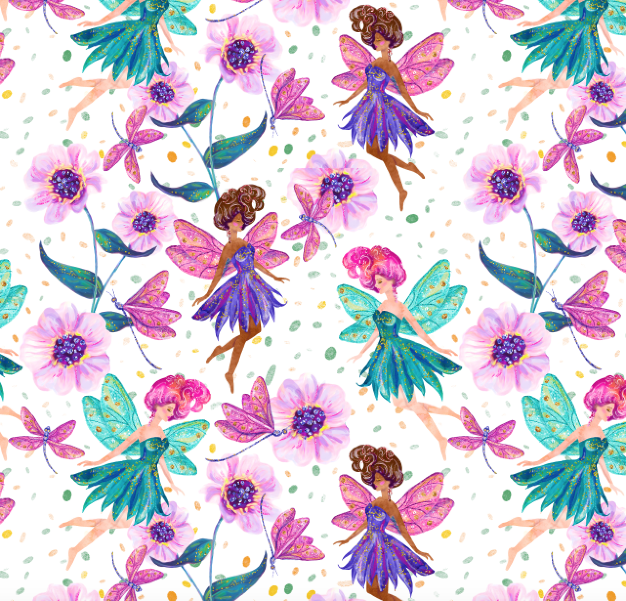 IN STOCK - Mystical Fairies - WOVEN COTTON