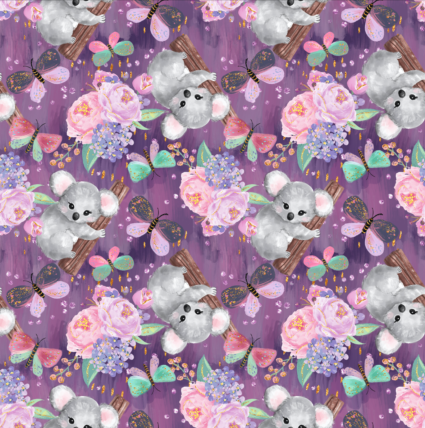 IN STOCK - Cuddly Koalas Purple - WOVEN COTTON