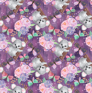 PRE ORDER Cuddly Koalas Purple - Digital Fabric Print