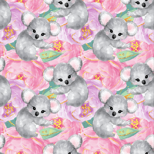 IN STOCK - Cuddly Koalas Pink - WOVEN COTTON